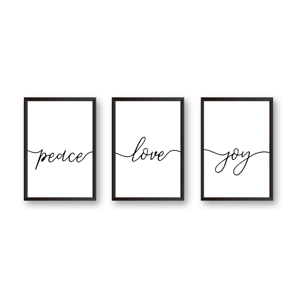 Peace Love Joy - Set of 3 Frames