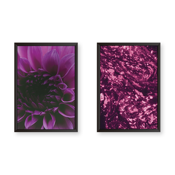 Purple Tulips with Abstract Art Set of 2 Frames - urban-karigars