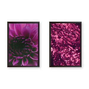 Purple Tulips with Abstract Art Set of 2 Frames
