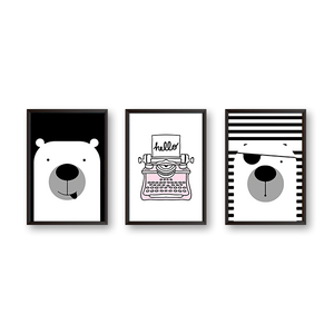 Panda Says Hello  - Set Of 3 Frames
