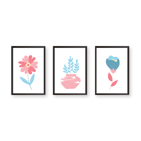 Flowers #3C - Set of 3 Frames