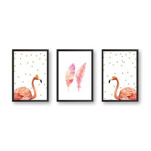 Pink Flamingo #GOLD - Set of 3 Frames - urban-karigars