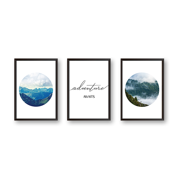Adventure Awaits  Art - Set of 3 Frames