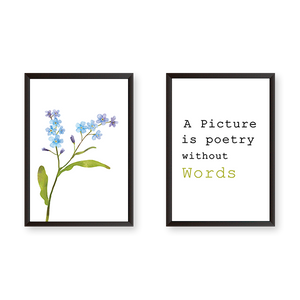 A Picture Quote With Flowers - Set of 2 Frames - urban-karigars