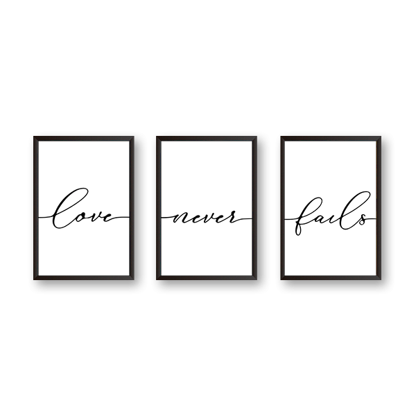 Love Never Fails - Set of 3 Frames