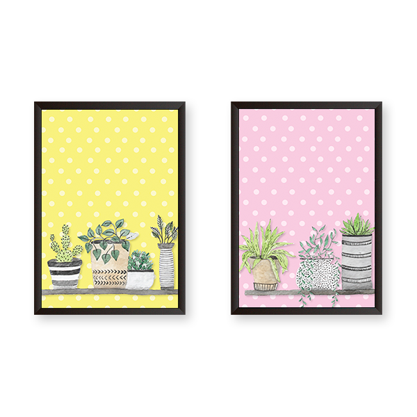Colorful Flower Pots #A - Set of 2 Frames - urban-karigars