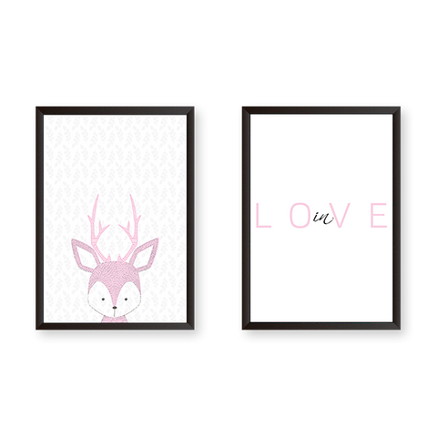 Baby Deer In Love - Set of 2 Frames