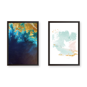 Abstract Golden Wave Set of 2 Frames
