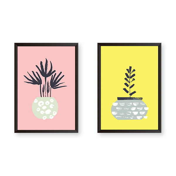 Colorful Flower Pot - Set of 2 Frames - urban-karigars