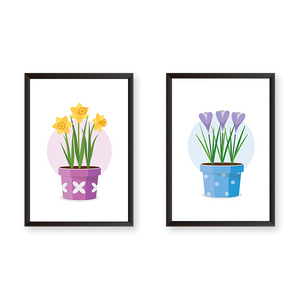 Colorful Flower Pots - Set of 2 Frames - urban-karigars