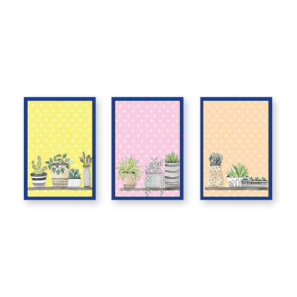 Colorful Pots #A - Set of 3 Frames - urban-karigars