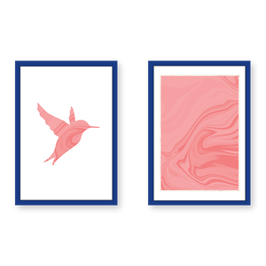 A Pink Bird With Marble Texture - Set of 2 Frames - urban-karigars