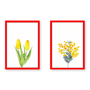 Yellow Flowers - Set of 2 Frames