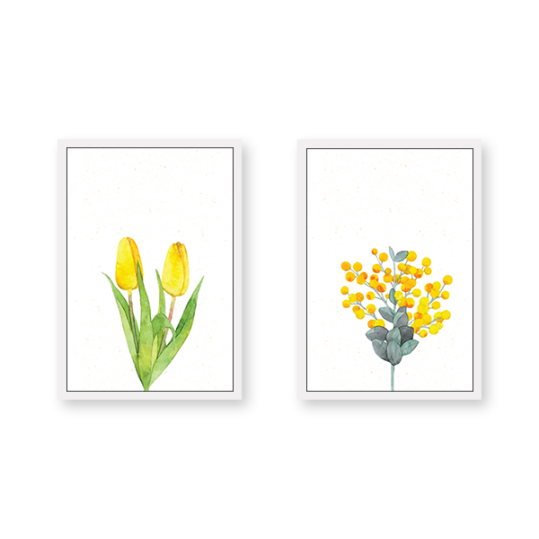 Yellow Flowers - Set of 2 Frames - urban-karigars