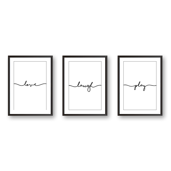 Love Laugh Play - Set Of 3 Frames - urban-karigars