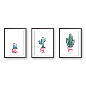 Cactus Plant In Pots - Set of 3 Frames - urban-karigars