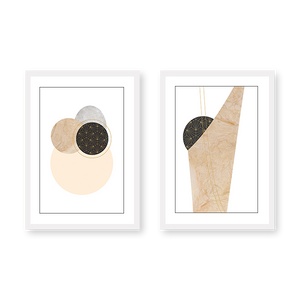 Beige Pattern Set of 2 Frames