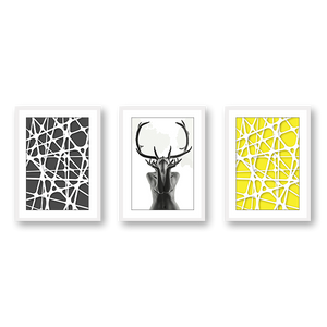 Abstract Woman Black Antlers With Geometric Patterns  - Set Of 3 Frames - urban-karigars