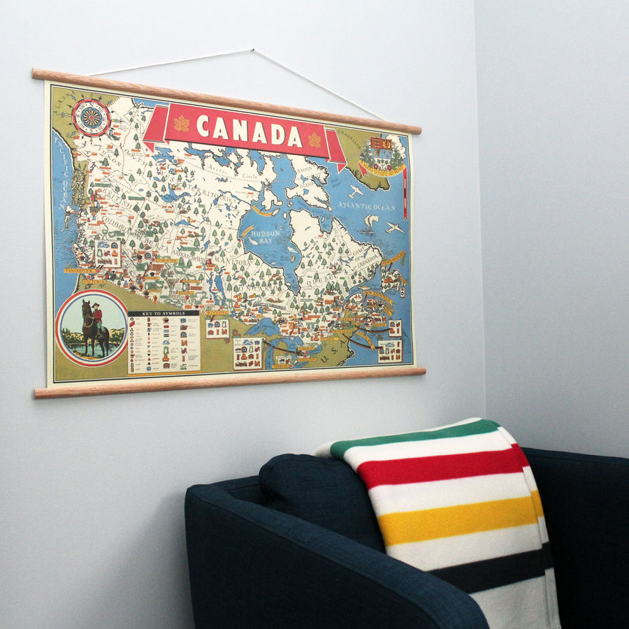 Map of Canada Retro 28 x 20'' Print + Hanging Kit