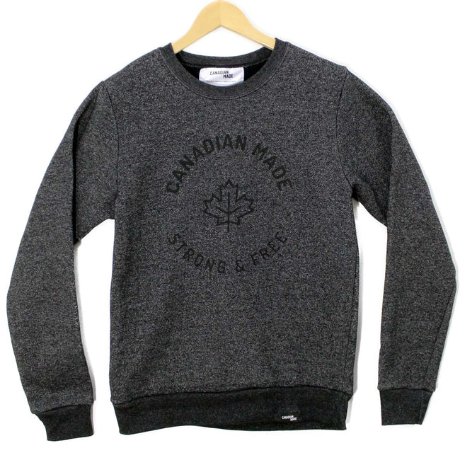 Canadian Made Strong & Free Marled Cotton Sweatshirt - Black