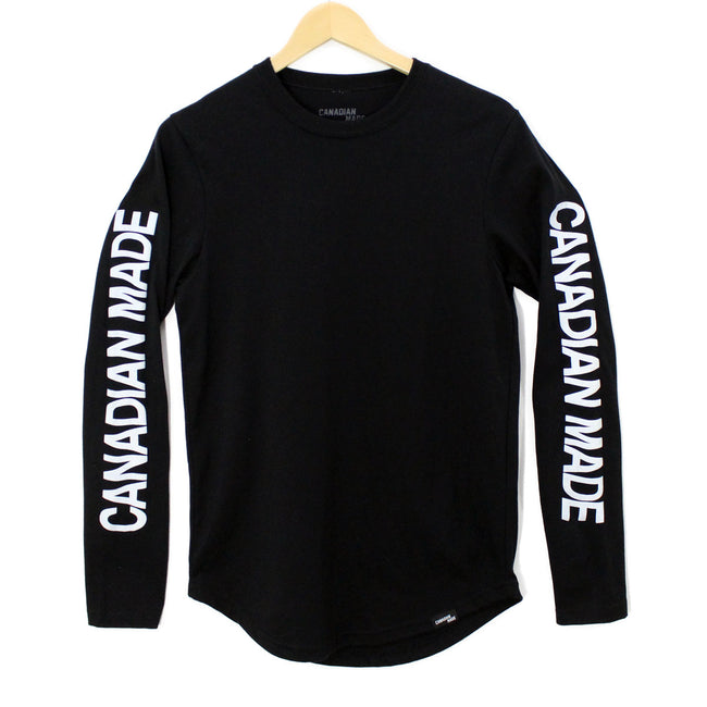 Canadian Made Wavy Round Hem Long Sleeve - Black