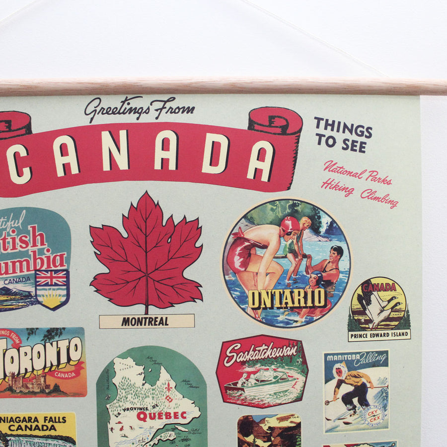 Canadian Provinces Retro 20 x 28'' Print + Hanging Kit