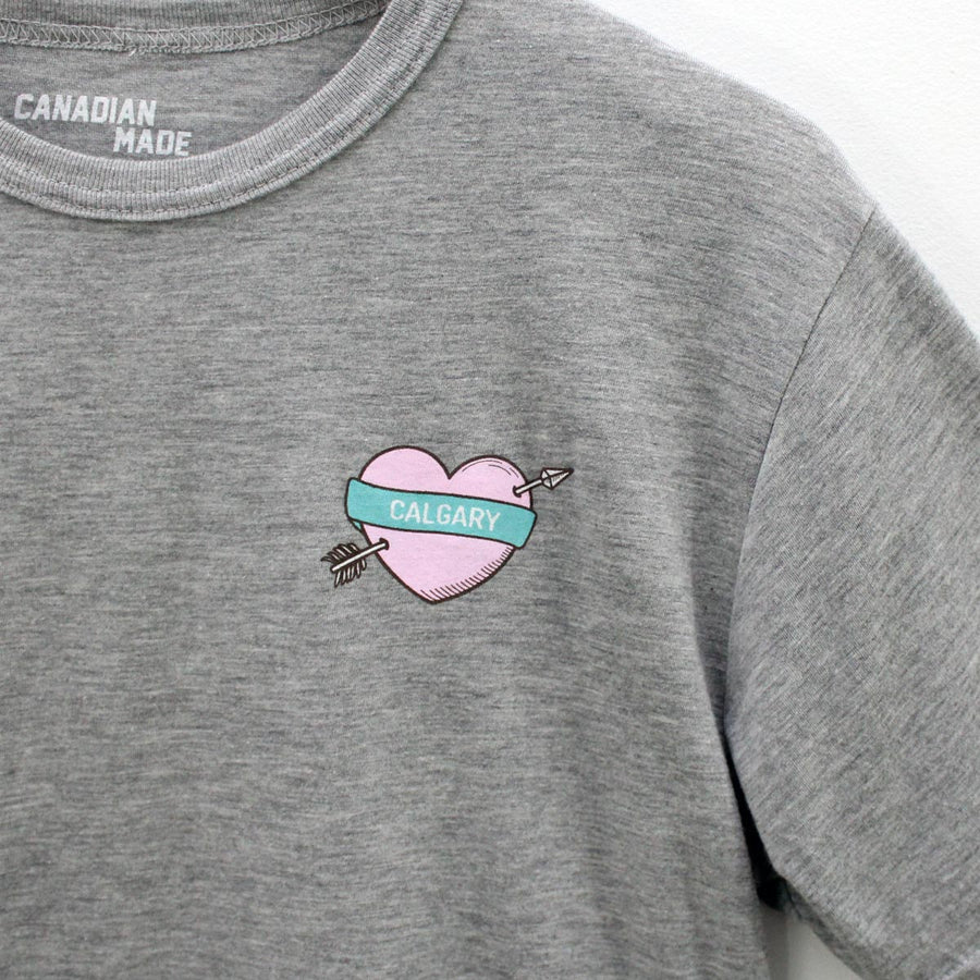 Calgary Heart and Arrow Bamboo T-Shirt - Grey