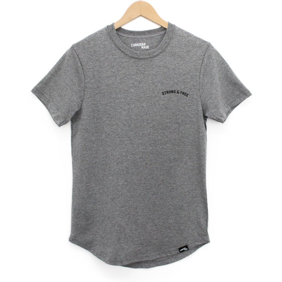 Strong & Free Illusion Round Hem T-Shirt - Grey