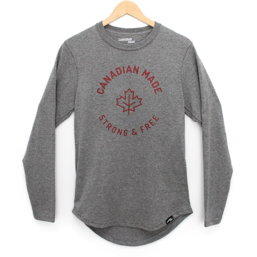Canadian Made Strong & Free Round Hem Long Sleeve - Grey