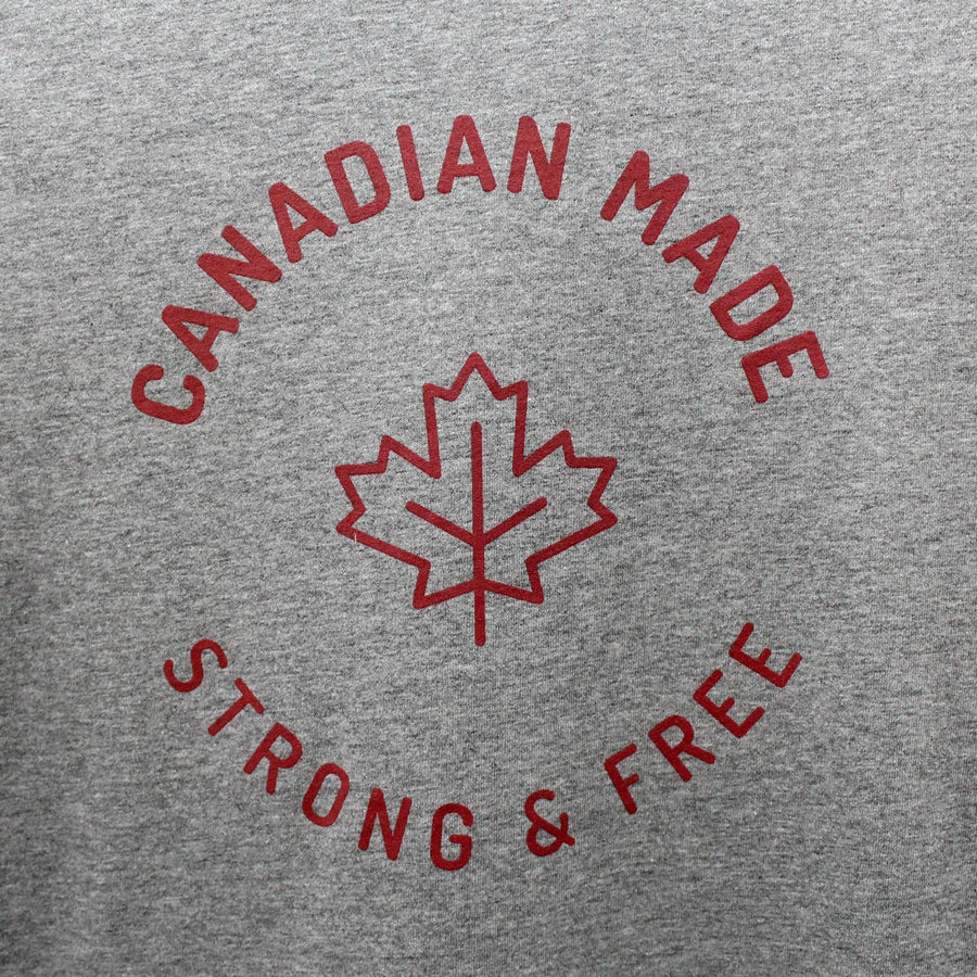 Canadian Made Strong & Free Round Hem T-Shirt - Grey