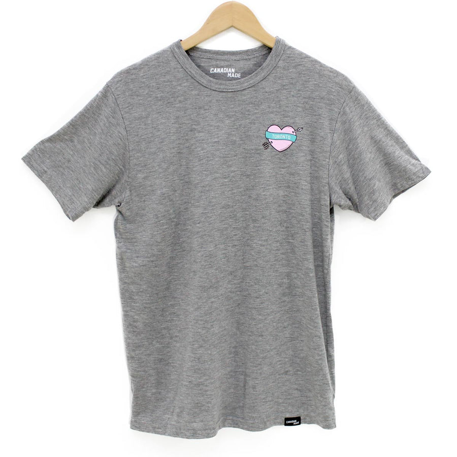 Toronto Heart and Arrow Bamboo T-Shirt - Grey