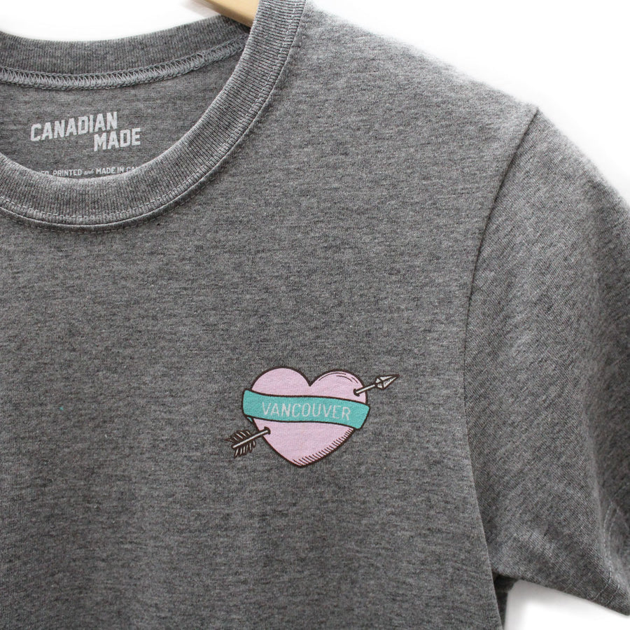 Vancouver Heart and Arrow Round Hem T-Shirt - Grey