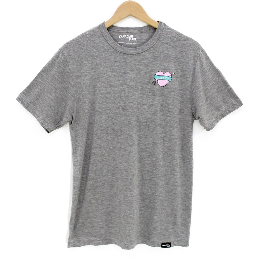 Vancouver Heart and Arrow Bamboo T-Shirt - Grey
