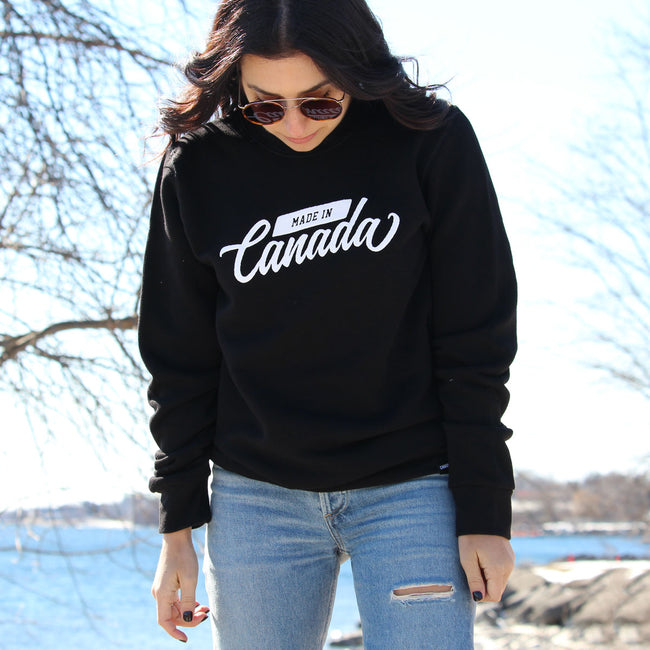 Made in Canada Cursive Bamboo Sweatshirt - Black
