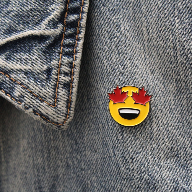 Maple Leaf Eyes Emoji Enamel Pin