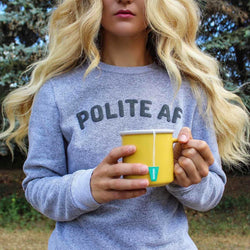 Polite AF Marled Cotton Sweatshirt - Grey