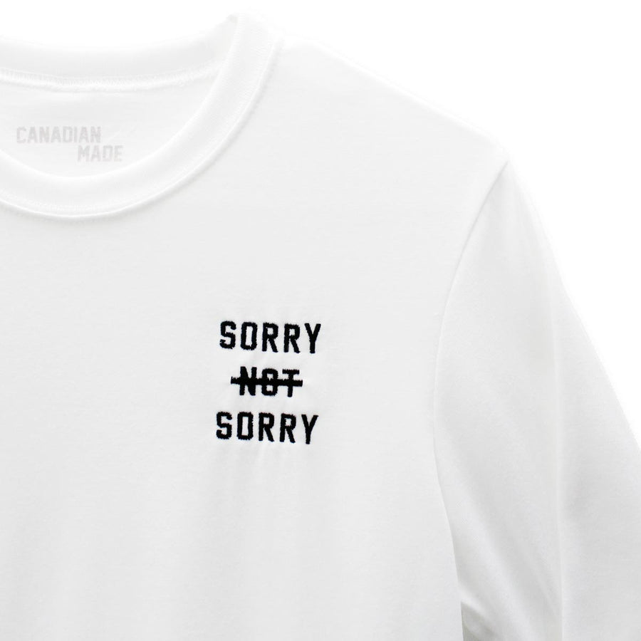 Sorry Not Sorry Round Hem Long Sleeve - White