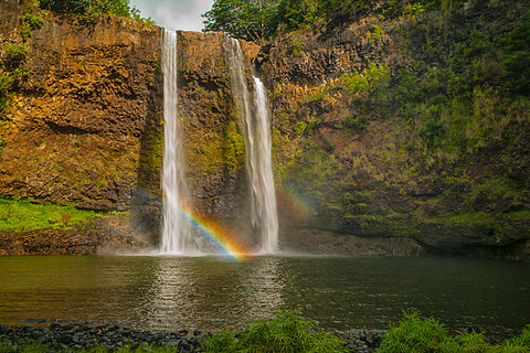 Wailua Falls Double Rainbow waterfall kauai hawaii