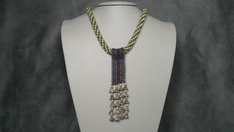 Flowers and Stripes Pendant Necklace Collection V1