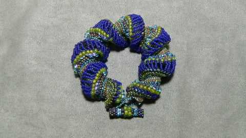 Bold Dutch Spiral Bracelet in Blue and Green