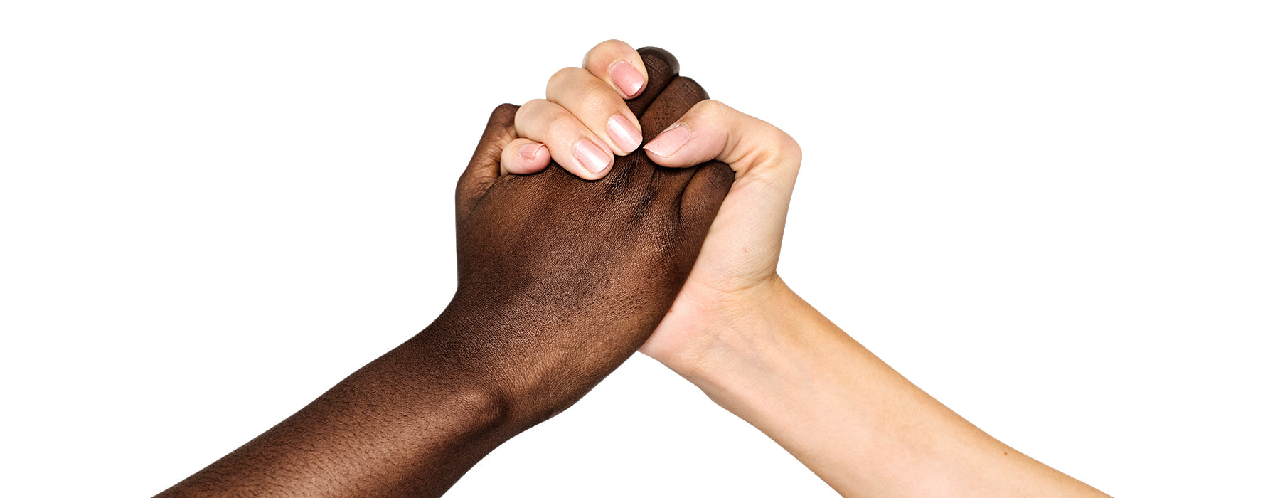 holding hands against white background