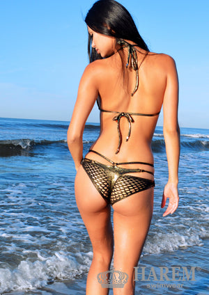 SAVAGE BIKINI ( black gold mesh)