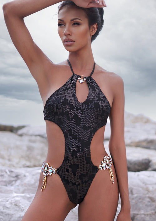 SAVAGE  BIKINI (black sequins and mesh)