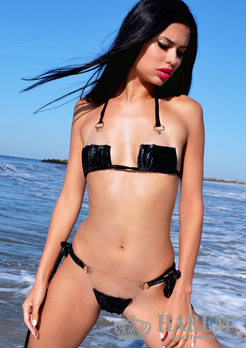 NAUGHTY  BARE BIKINI ( black metallic velvet)