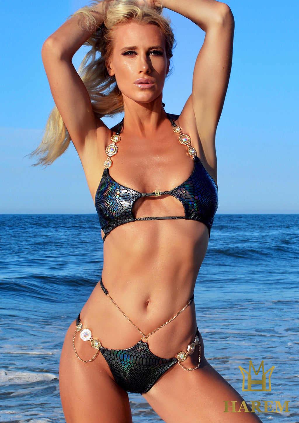 WILDIN BIKINI (black metallic snake print)