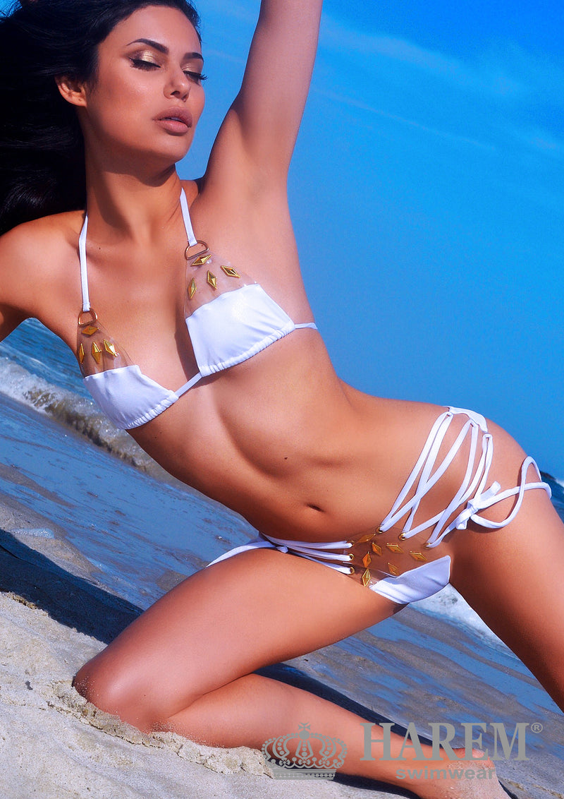 NAUGHTY EMBELLISHED BIKINI ( white studded)