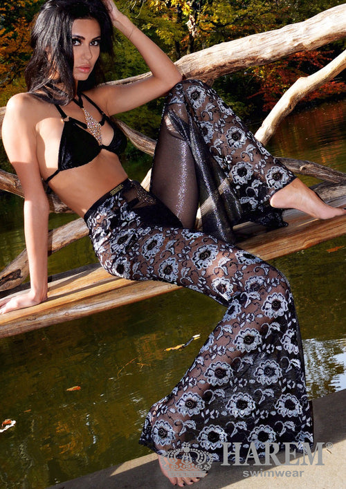 EROTICA LACE MESH PANTS ( black silver metallic )