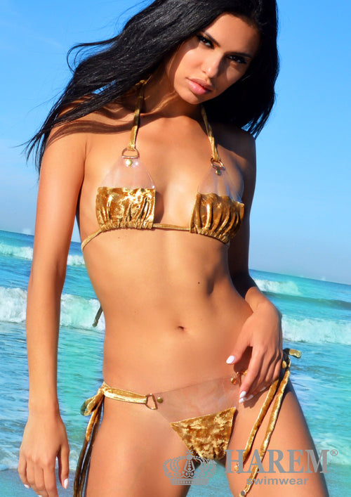 NAUGHTY BARE BIKINI ( gold metallic velvet)