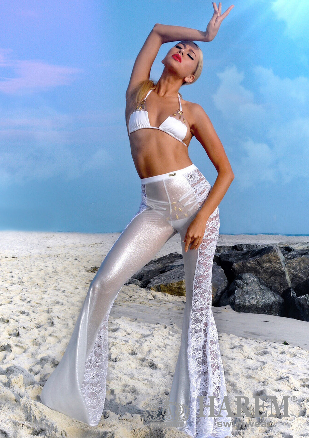 LACEY LACE MESH PANTS ( white silver metallic)