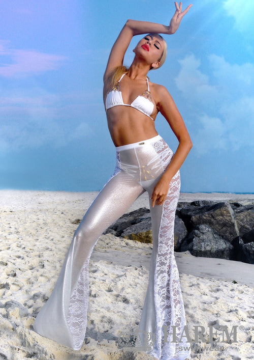 EROTICA LACE MESH PANTS ( white silver metallic)